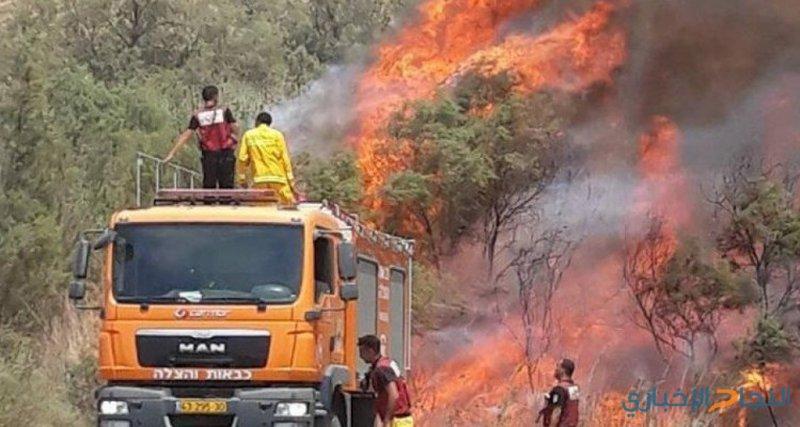"""الاحتلال: إطلاق بالونات واندلاع حريق في مستوطنة """"نيرعوز"""""""
