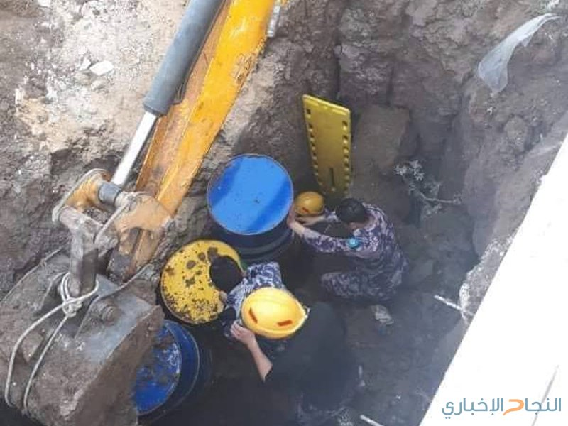 انقاذ عامل من انهيار مفاجئ داخل حفرة