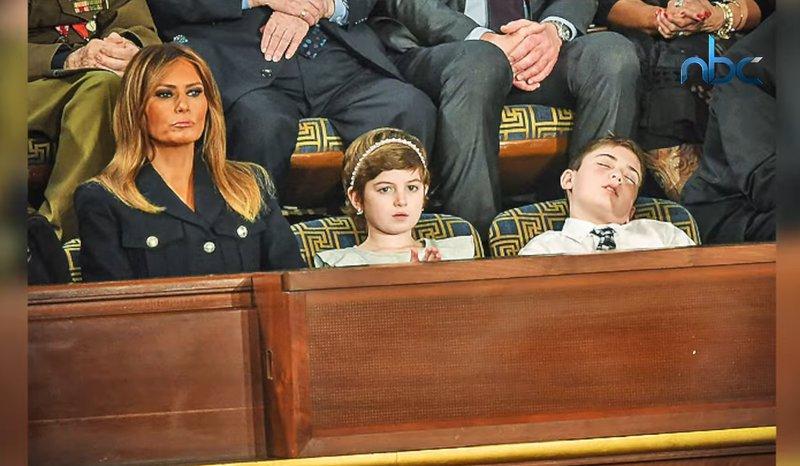 """قصة """"الطفل النائم"""" بجوار ميلانيا أثناء خطاب ترامب"""