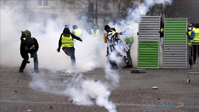 65اصابة باشتباكات الشرطة الفرنسية والسترات الصفراء