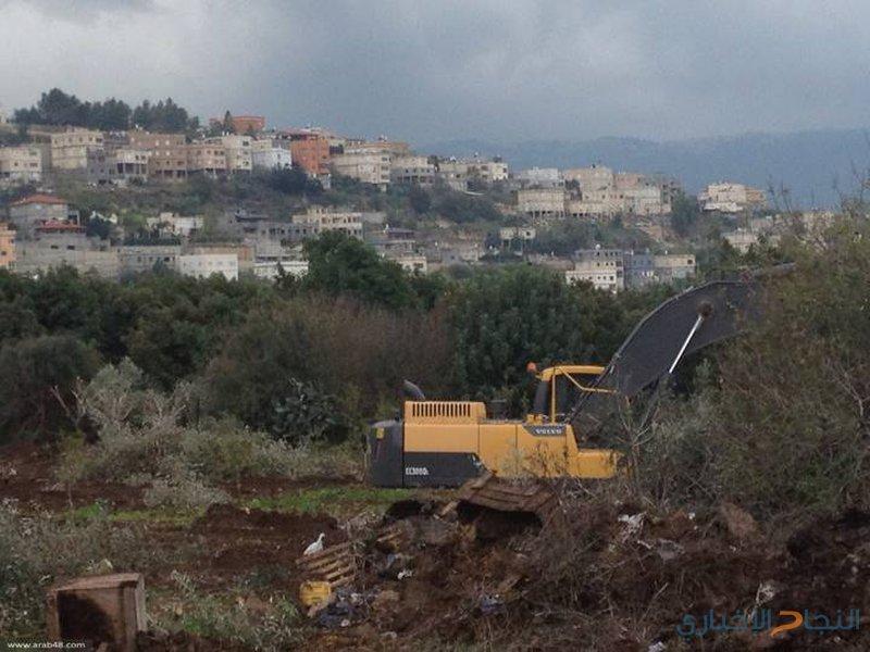 الاحتلال يجرف أراضي ويقتلع أشتال كرمة وزيتون