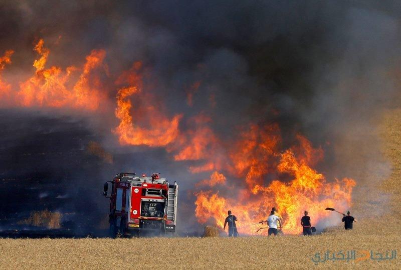 7 حرائق على حدود غزة