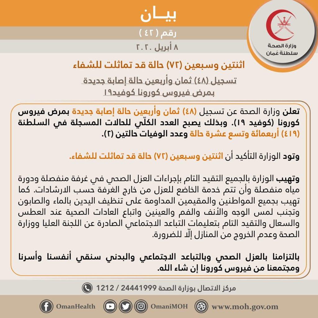 بيان وزارة الصصحة العمانية